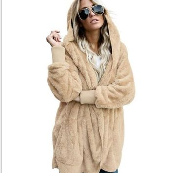 Women's Hooded Faux Fur Jacket with Sweater Cuffs