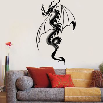Vinyl Wall Decal Fire Breathing Dragon Fantasy Fairy Tale Stickers Unique Gift (1585ig)