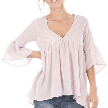 V Neckline Bell Sleeve Ruffled Tunic Top - Blush
