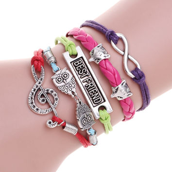 Best gift Multilayer lucky owl leather bracelet best friend charm bracelet pulseira masculina silver bracelets for man and women