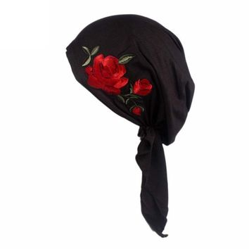 HOT!Head Wrap Cap ,BeautyVan Charming Women Rose Embroidery Cancer Chemo Beanie Scarf Head Wrap Cap