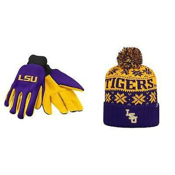 huge selection of 0dc51 74548 Licensed NCAA LSU Tigers Subartic Beanie Hat And Grip Work Glove