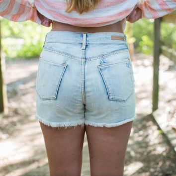 Articles of Society High Rise White Wash Shorts