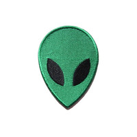 Green Alien Face Iron on Patch
