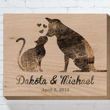 Wedding Wood Sign, Cat and Dog, Wedding Gifts For Couple, Personalized Wedding Gift, Engagement Gift, Anniversary Gift, Bridal Shower Gift