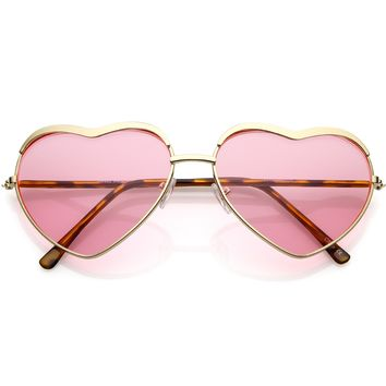 Oversize Heart Sunglasses Metal Frame Slim Arms Color Tinted Lens 61mm
