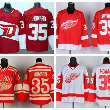 Detroit Red Wings 35 Jimmy Howard Throwback Jerseys Stadium Series Winter Classic Ice Hockey Jerseys Sports Home Red Road White