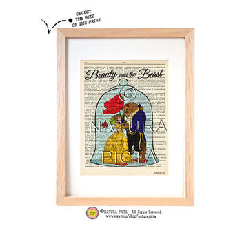 Beauty and the Beast dictionary print-Vers 3-Nursery print-Fairy Tale print-Bauty and Beast book page-Upcycled Dictionary-NATURA PICTA