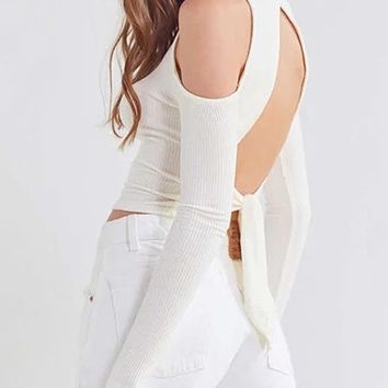 White High Neck Cold Shoulder Tied Cut Out Back Crop Top