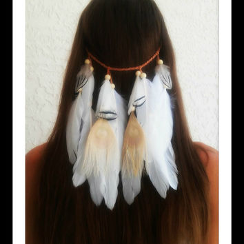 Clip in, feather veil,  Feather headband, native, american, style, hippie headband, bohemian headband, wedding veil, feather veil, white