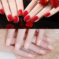22Pcs/set Fashion Long Full False Nails19 kinds of color Fake Nails For Party use with glue sticker bride's pure colour nail tip