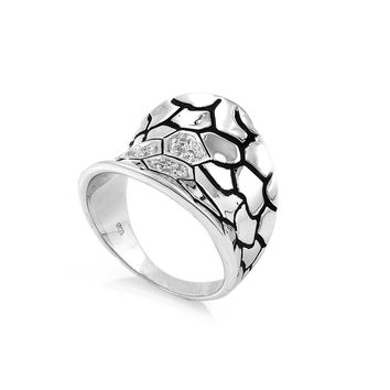 925 Sterling Silver CZ Giraffe Spots Ring 19MM