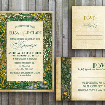 Wedding invitations printable templates files art deco wedding suite, art nouveau, great gatsby wedding