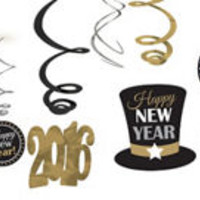 Black, Gold & Silver New Year's Eve Decorations