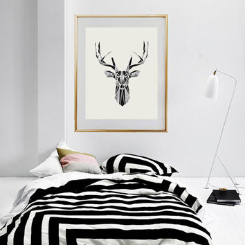 Deer Poster, Wall Hanging, Scandinavian Print, Deer Print, Deer Head, Wall Decor, Minimalist Art, Modern Art, Abstract Wall Art.