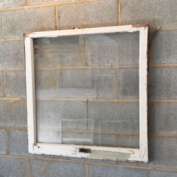 Vintage 1 Pane Window Frame - 32 x 32, White, Rustic, Antique, Wood, Wedding, Engagement, Home, Photos, Picture Frame, Holiday, Decor