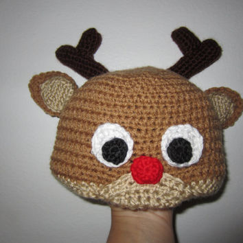 Reindeer hat, crochet Christmas hat, Rudolph hat, crochet winter hat, boys winter hat, girls winter hat, Christmas photo prop, Santa hat