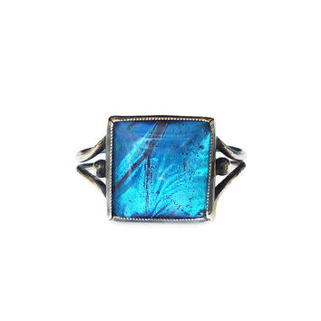 Butterfly Wing Ring Sterling Silver Made in England Morpho Blue Art Deco Jewelry