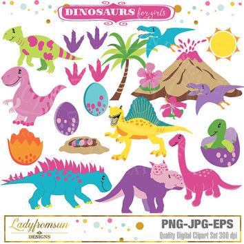 Dinosaurs for girls Clipart,  Girl Dinosaurs, baby girls dino, baby dinosaur, trex clipart, cute animal, dino party, Commercial-Personal Use