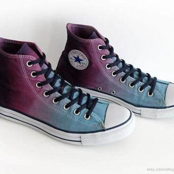 DCKL9 Ombr¨¦ dip dye Converse All Stars, glacier blue, purple, wine, upcycled vintage sneaker