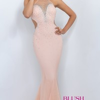 High Neck Beaded Prom Dress by Blush