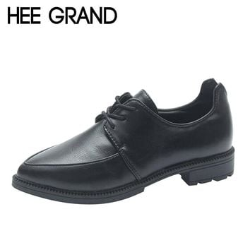 HEE GRAND 2017 New Trend Women Shoes Pointed Toe Oxfords Woman British Style Footwear Lace-up Causal Shoes XWD6142