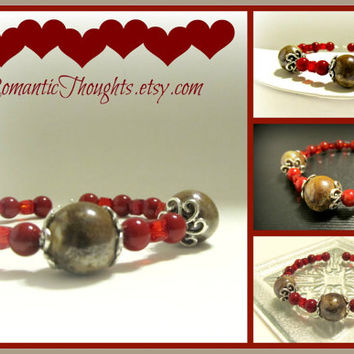 Red Memory Wire Bracelet with Dark Red Bamboo Coral, Red Crystal Cubes and Tan Ceramic Beads - Valentines Gift, Simple style, everyday wear