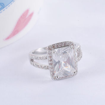 ANFASNI Big Rectangle Cut Princess Ring Silver Color Clear AAA Cubic Zircon Ring Western Style Fashion Jewelry CRI0014