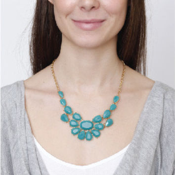 Blue Statement Necklace by KnitPopShop