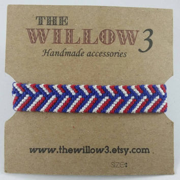 Red White and Blue Handmade Braided Look Woven Bracelet