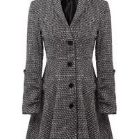 Gray Plaid Lapel Single-Breasted Wool Coat