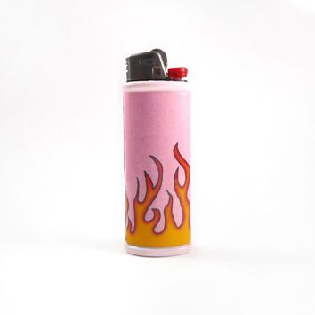 Pink Flame Bic Lighter Case