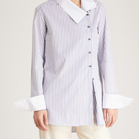 MONOGRAPHIE Striped crossover cotton shirt