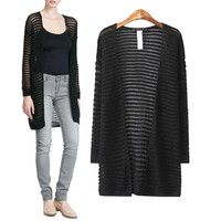 Black White Cutout Long Sleeve Knitted Cardigan Sweater