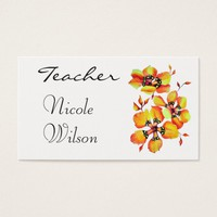 Watercolor Orange Flowers for Teachers- White Business Card