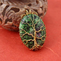Green and Purple Zoisite gold-plated wire Tree of Life pendant, green tree pendant, green tanzanite pendant