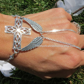 Cross Angel Wings Hand Jewelry, Slave Ring, Slave Bracelet, Christian Jewelry, He has Risen, Jesus Bracelet Cross Bracelet Silver Hand Chain