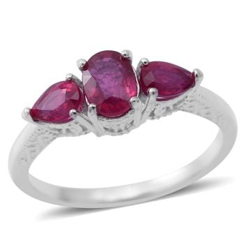 Ruby Sterling Silver Trilogy Ring