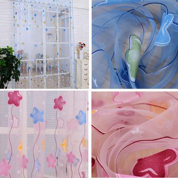 Lovely Cartoon Star Print Window Curtains Tulle Voile Sheer Curtains for Kids Girls bedroom living room Home Textile 2016 New