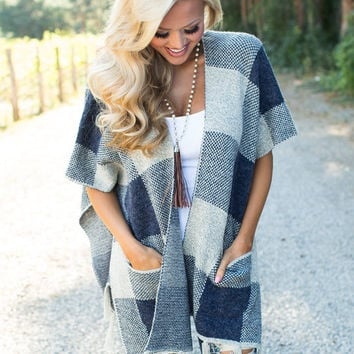 Walking in the Wind Plaid Poncho Navy