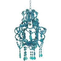 "15"" Blue Beaded Hanging Chandelier 