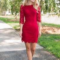 Lace And Grace Wine Red Bodycon Dress