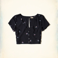 Girls Button-Front Crop Top | Girls Dresses & Rompers | HollisterCo.com