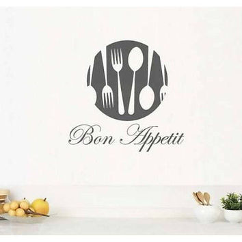 Bon Appetit Sign Sticker Decal Wall art Kitchen Decal Art Vinyl Sticker tr754