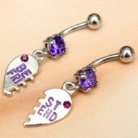 Purple Crystal Best Friend Piercing Belly Button Navel Rings -2 Pieces