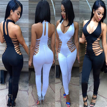 2016 new fashion womens rompers and jumpsuits sexy skinny deep V-neck hollow out solid halter bodysuits elegant rompers TX205