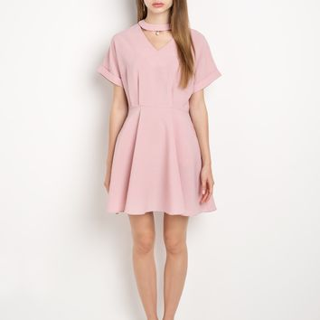 Pink Choker Fit And Flare Dress