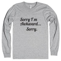Sorry I'm Awkward, Sorry-Unisex Heather Grey T-Shirt