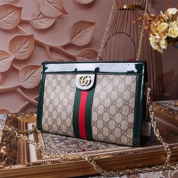 GUCCI WOMEN'S PVC AND LEATHER INCLINED CHAIN SHOULDER BAG
