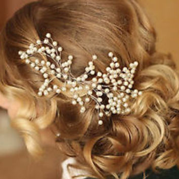 Bridal Pearls Hair Vine Floral Wedding Proms Comb Headband Pin Headpiece